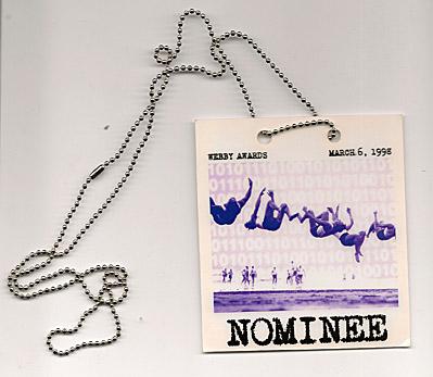 Webby Awards laminate from 1998