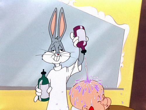 Bugs Bunny as Figaro and Elmer Fudd as Bartolo in Rabbit of Seville