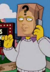 Simpsons cartoon of Thomas Pynchon