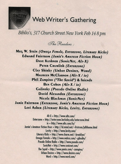 Web Writers Reading at Biblios in NYC, February 1995