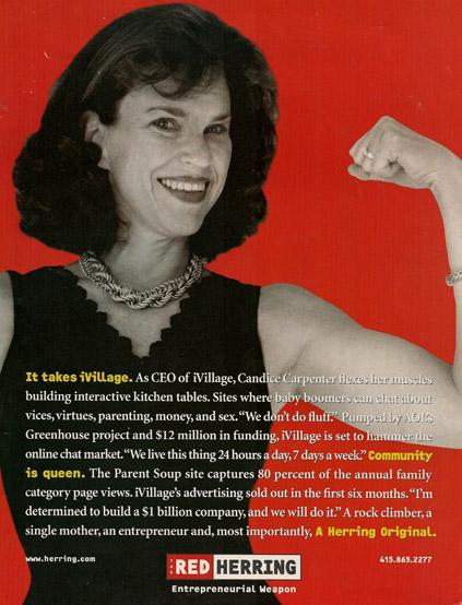 Candice Carpenter of iVillage in Red Herring magazine ad
