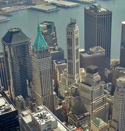 NY City financial district aerial