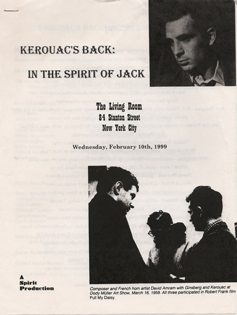 Kerouac's Back at the Living Room flyer