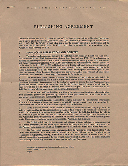 Publishing Agreement for Coffeehouse: Writings From The Web