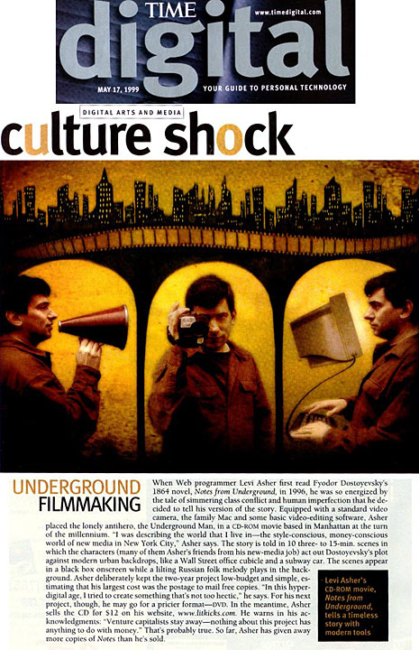Levi Asher's Notes From Underground featured in Time Digital, 1999