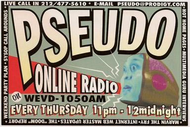 Pseudo Onine Radio promo card from 1994