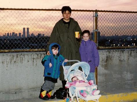 Marc, Dan, Abby and Liz in Queens, late 90s
