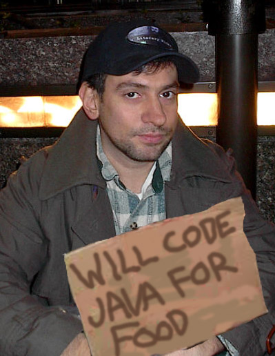 """Marc Eliot Stein """"will code Java for food"""" in 2003"""