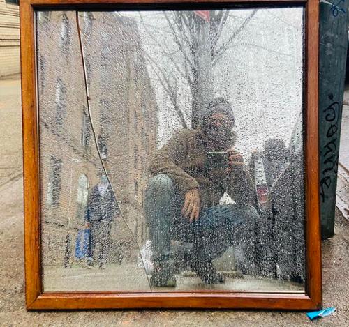 A found mirror on Ocean Ave in Flatbush, Brooklyn